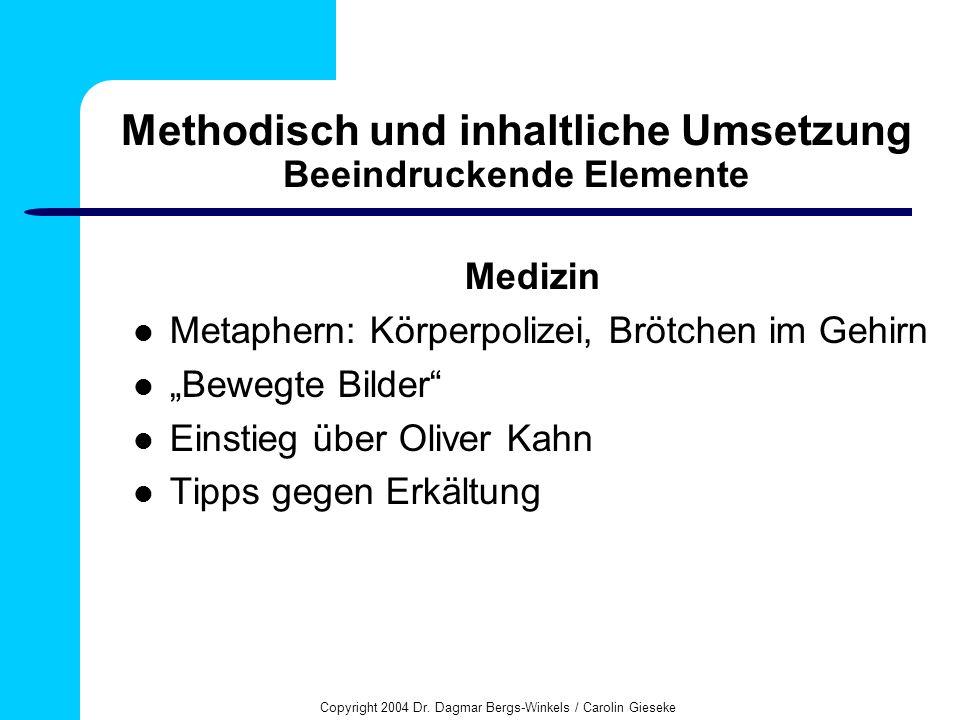 Methodisch und inhaltliche Umsetzung Beeindruckende Elemente