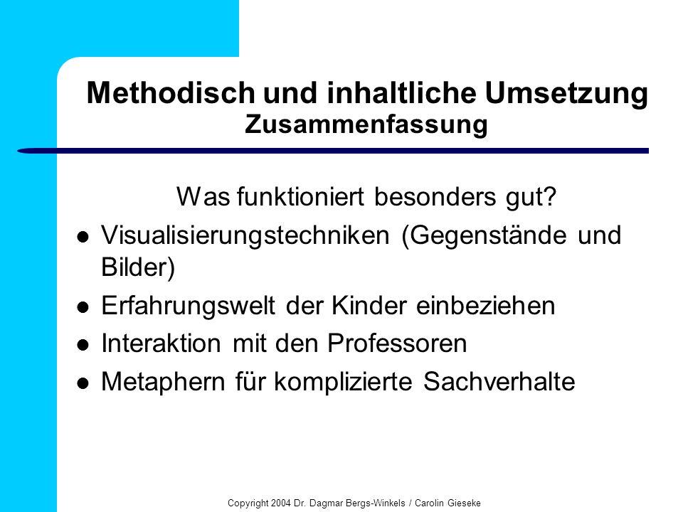 Methodisch und inhaltliche Umsetzung Zusammenfassung