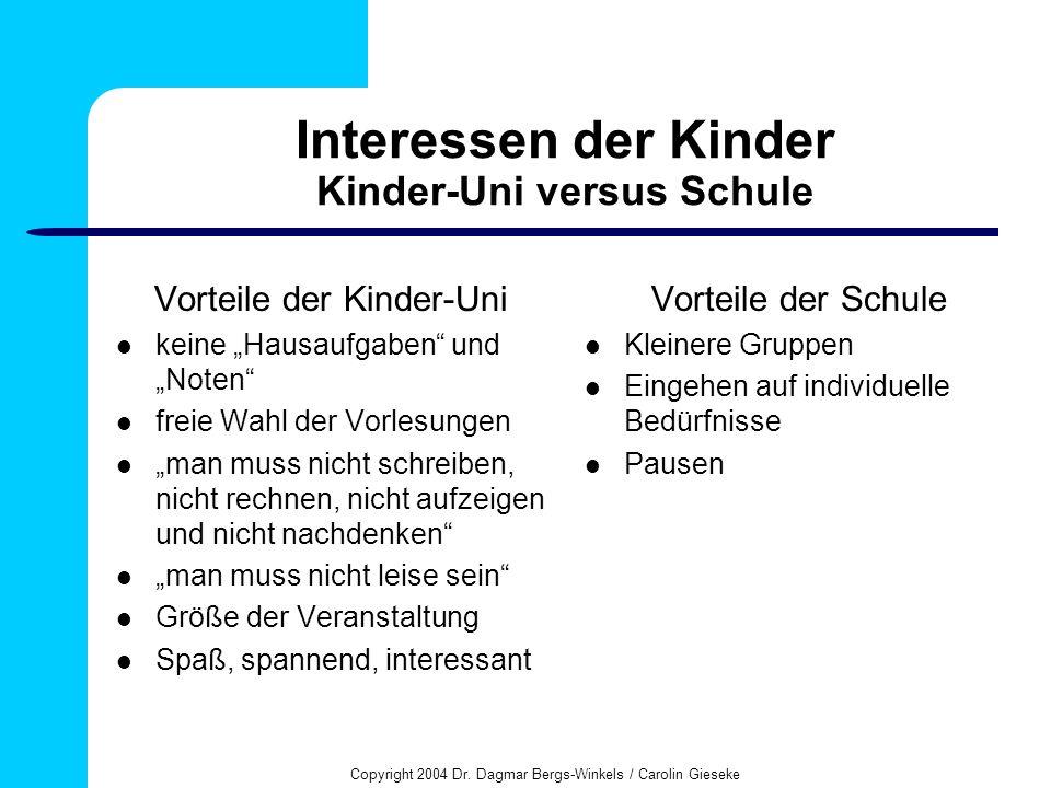 Interessen der Kinder Kinder-Uni versus Schule