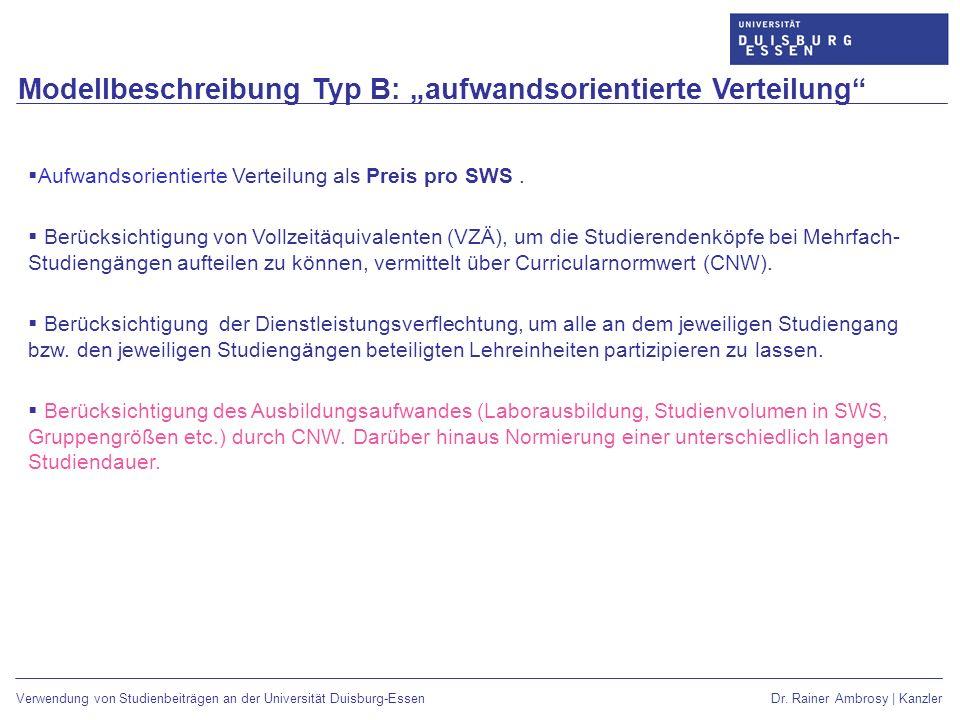 """Modellbeschreibung Typ B: """"aufwandsorientierte Verteilung"""