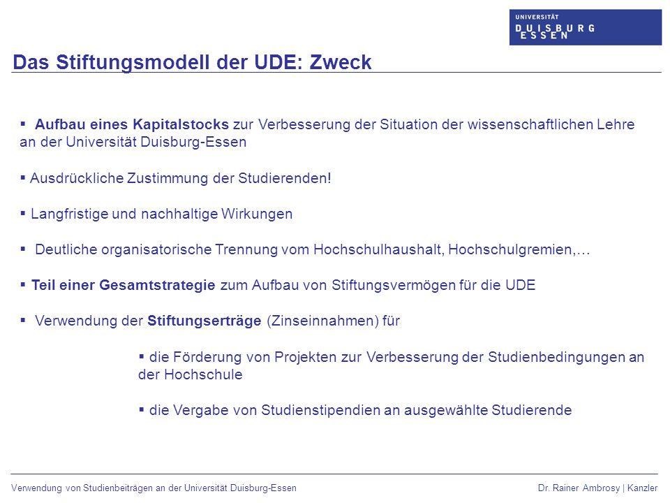 Das Stiftungsmodell der UDE: Zweck