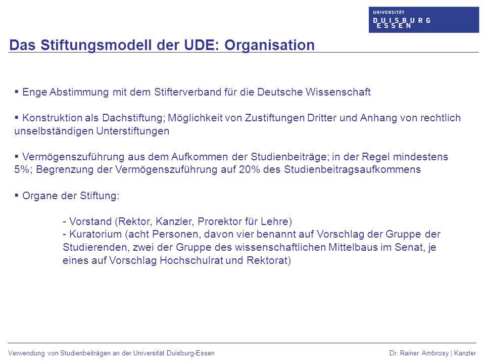 Das Stiftungsmodell der UDE: Organisation