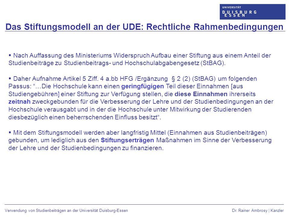 Das Stiftungsmodell an der UDE: Rechtliche Rahmenbedingungen