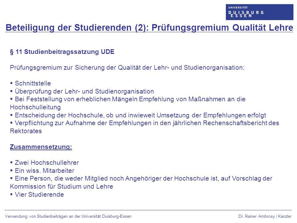 Beteiligung der Studierenden (2): Prüfungsgremium Qualität Lehre