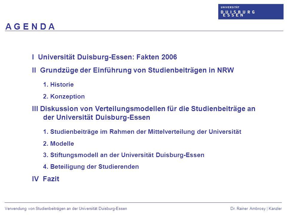 A G E N D A I Universität Duisburg-Essen: Fakten 2006. II Grundzüge der Einführung von Studienbeiträgen in NRW.