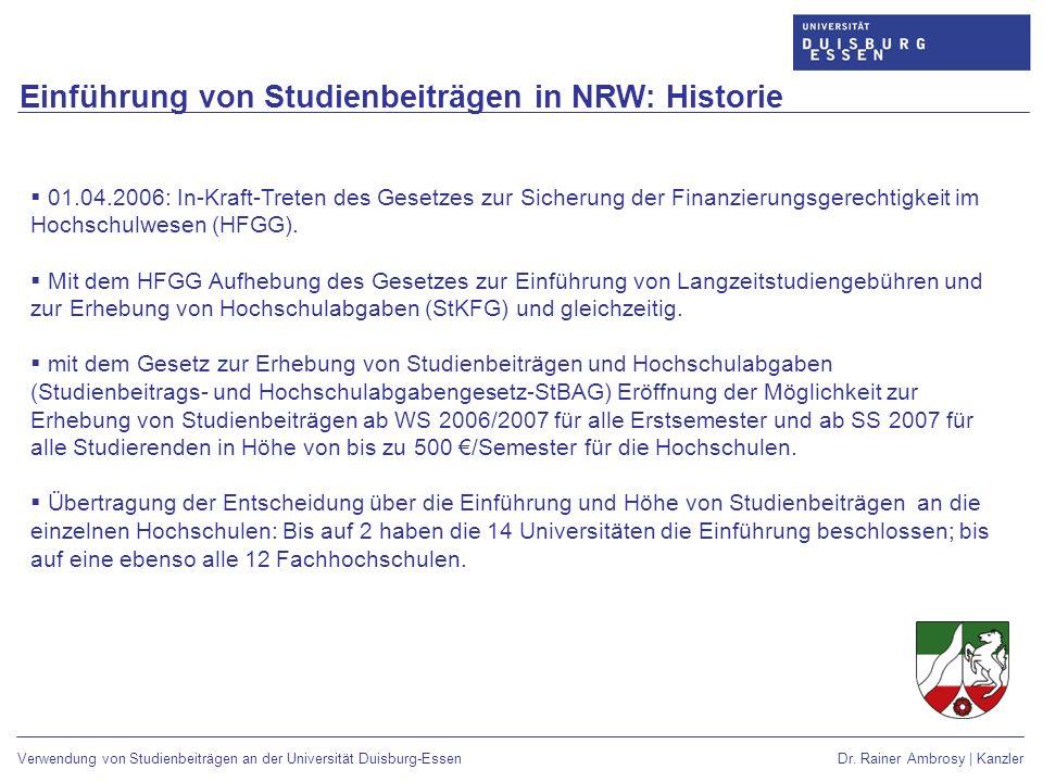 Einführung von Studienbeiträgen in NRW: Historie