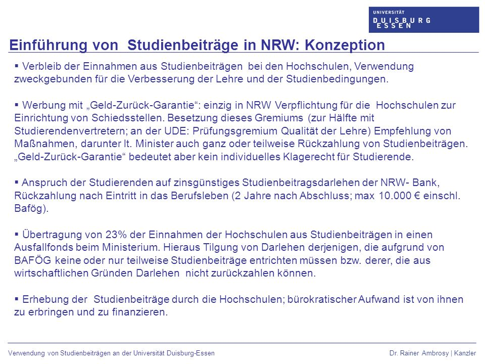 Einführung von Studienbeiträge in NRW: Konzeption