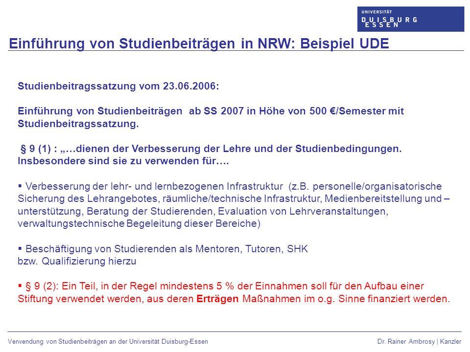 Einführung von Studienbeiträgen in NRW: Beispiel UDE