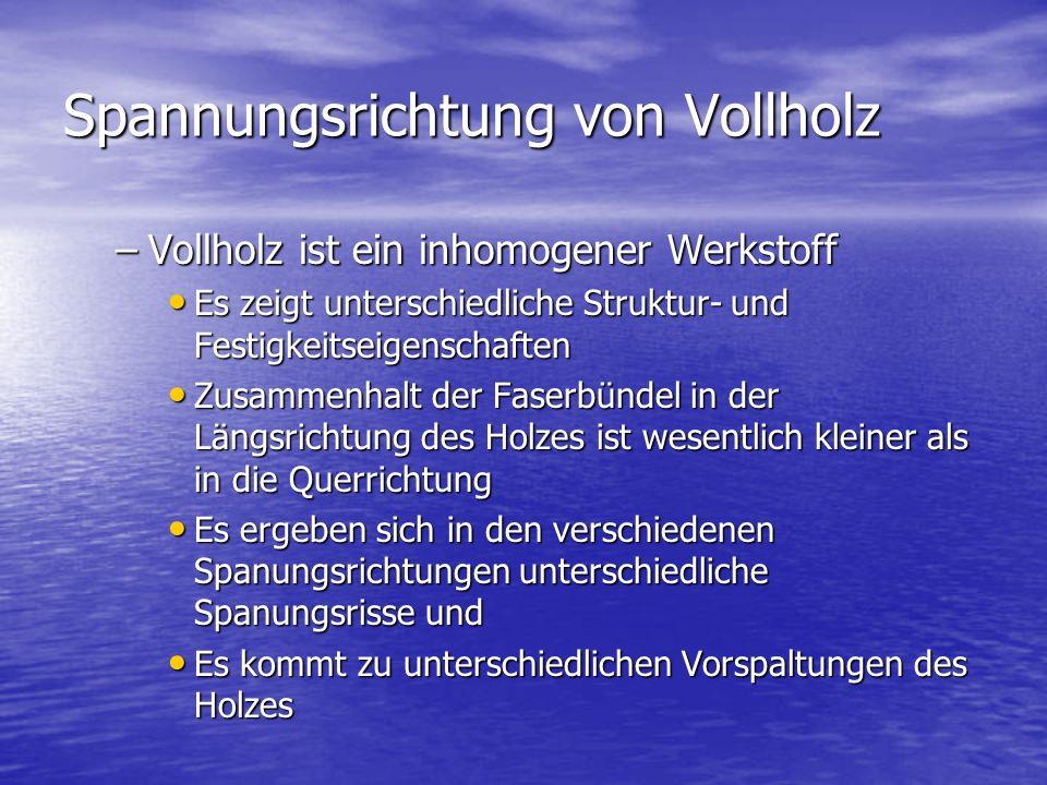 Spannungsrichtung von Vollholz