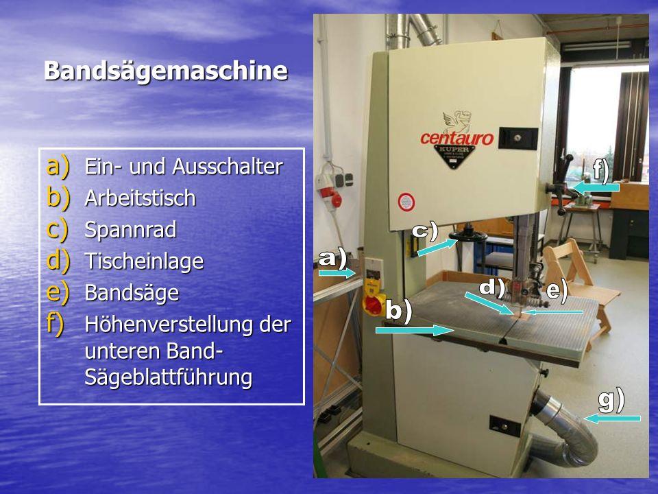 f) c) a) d) e) b) g) Bandsägemaschine Ein- und Ausschalter