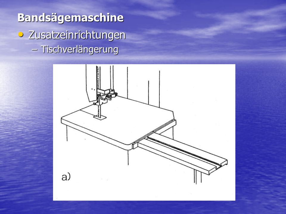 Bandsägemaschine Zusatzeinrichtungen Tischverlängerung