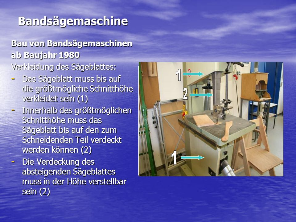 1 2 1 Bandsägemaschine Bau von Bandsägemaschinen ab Baujahr 1980