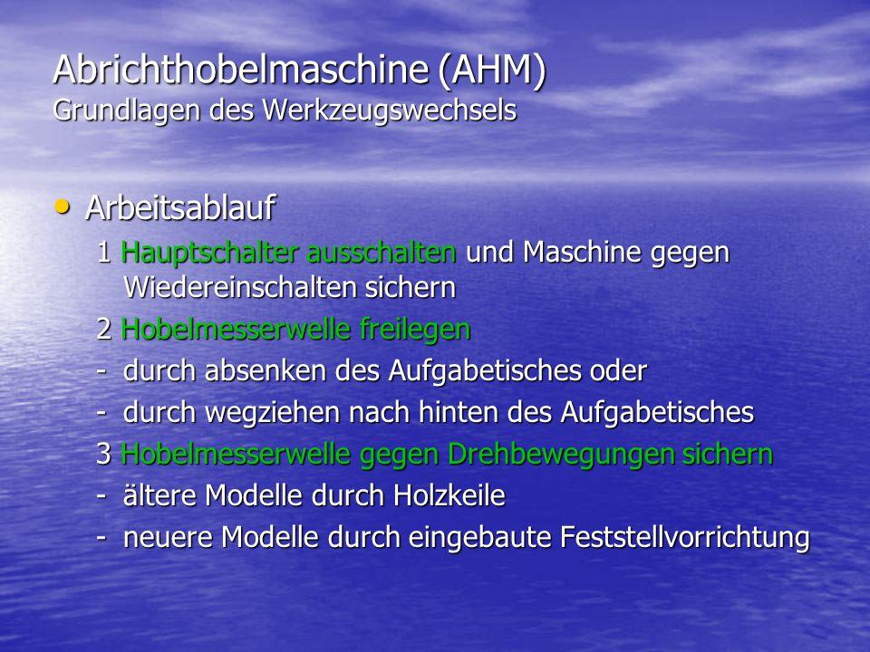 Abrichthobelmaschine (AHM) Grundlagen des Werkzeugswechsels