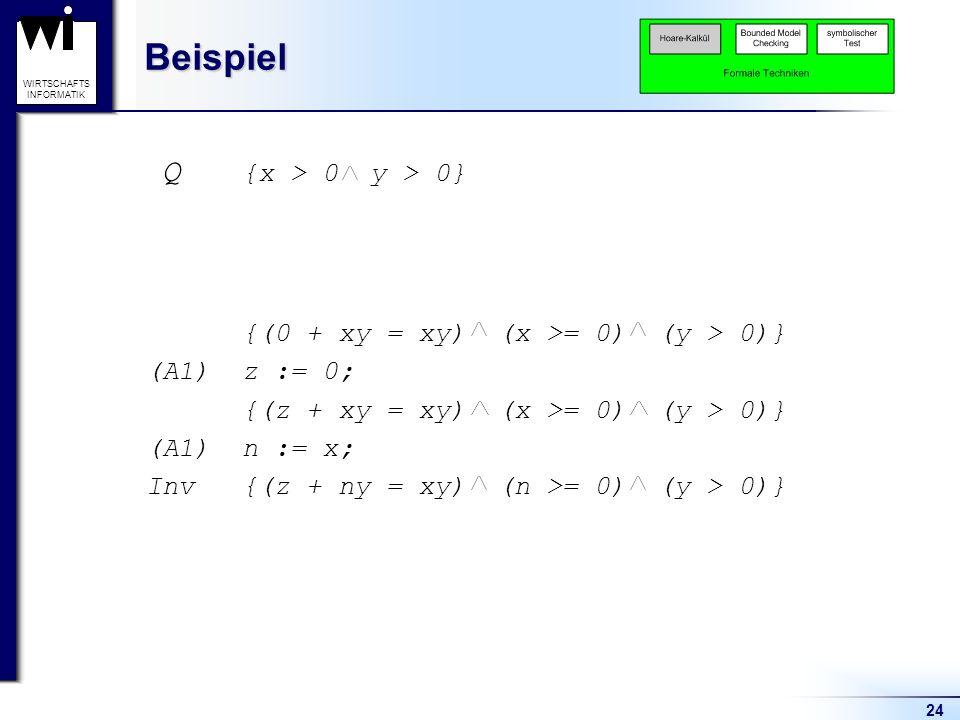 Beispiel Q {x > 0 y > 0} {(0 + xy = xy) (x >= 0) (y > 0)}
