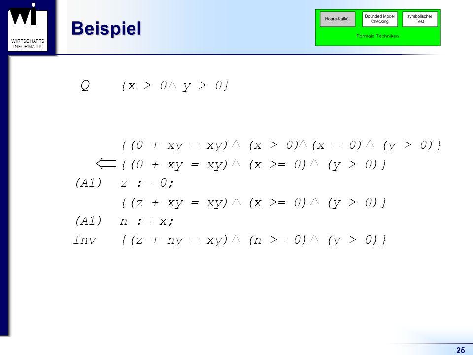 Beispiel Q {x > 0 y > 0}