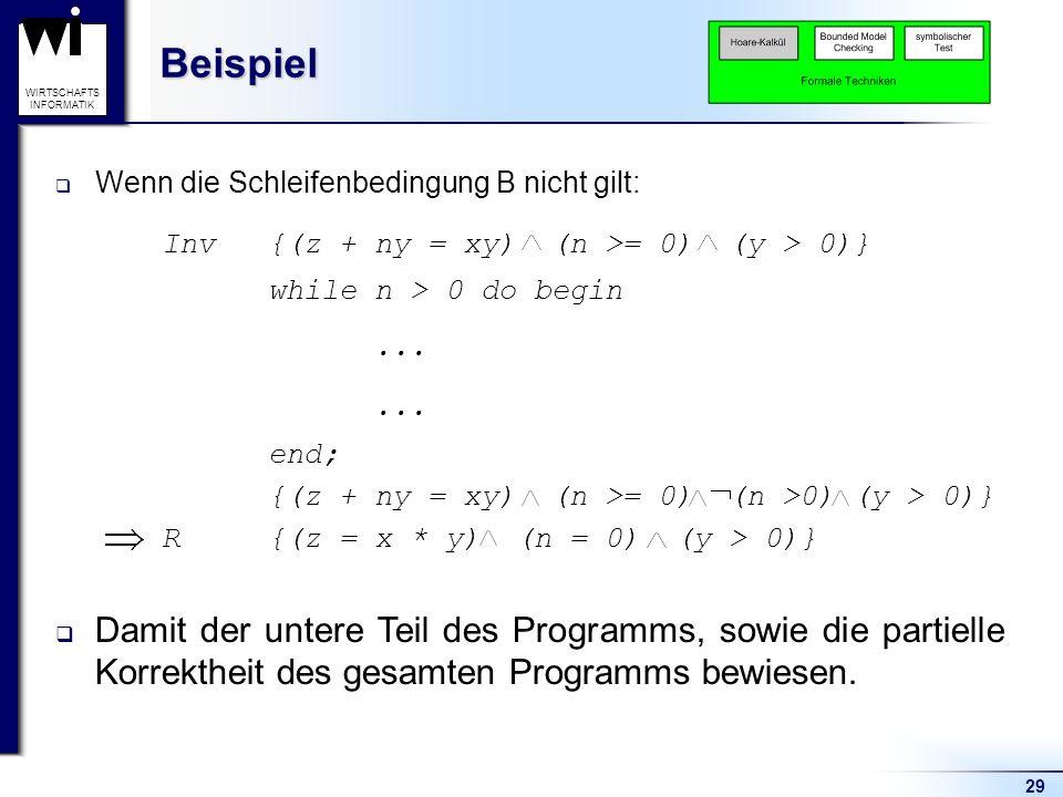 Beispiel Wenn die Schleifenbedingung B nicht gilt: Inv {(z + ny = xy) (n >= 0) (y > 0)} while n > 0 do begin.