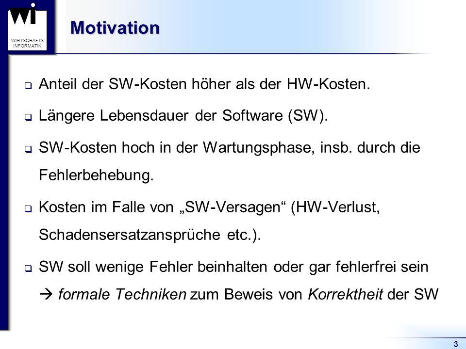 Motivation Anteil der SW-Kosten höher als der HW-Kosten.