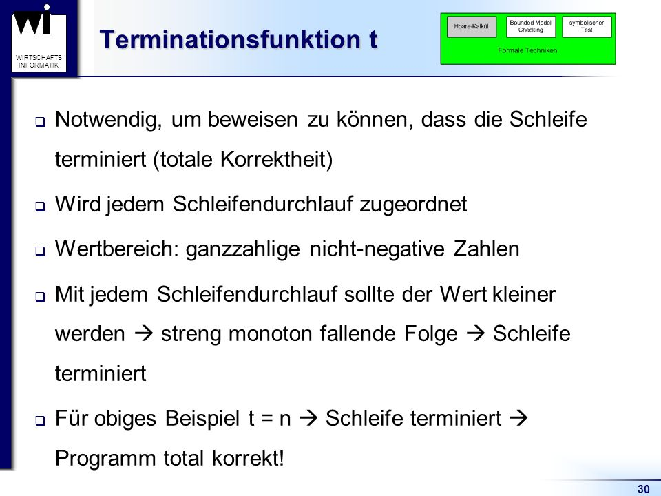 Terminationsfunktion t