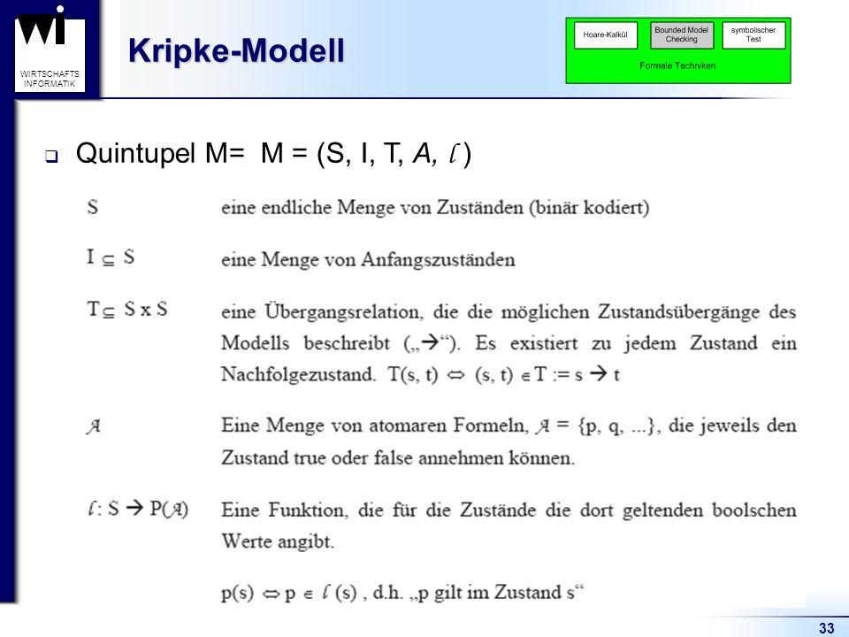 Kripke-Modell Quintupel M= M = (S, I, T, A, l )
