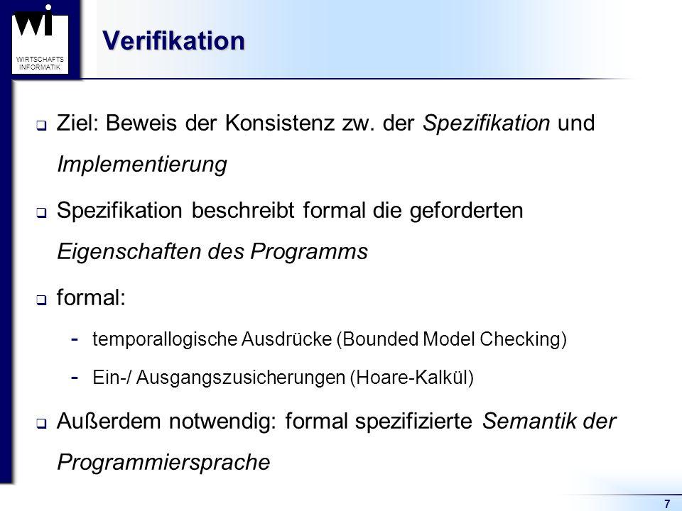 Verifikation Ziel: Beweis der Konsistenz zw. der Spezifikation und Implementierung.