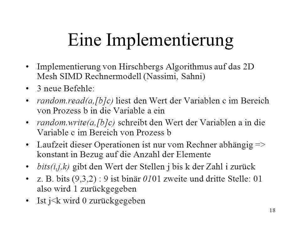 Eine ImplementierungImplementierung von Hirschbergs Algorithmus auf das 2D Mesh SIMD Rechnermodell (Nassimi, Sahni)