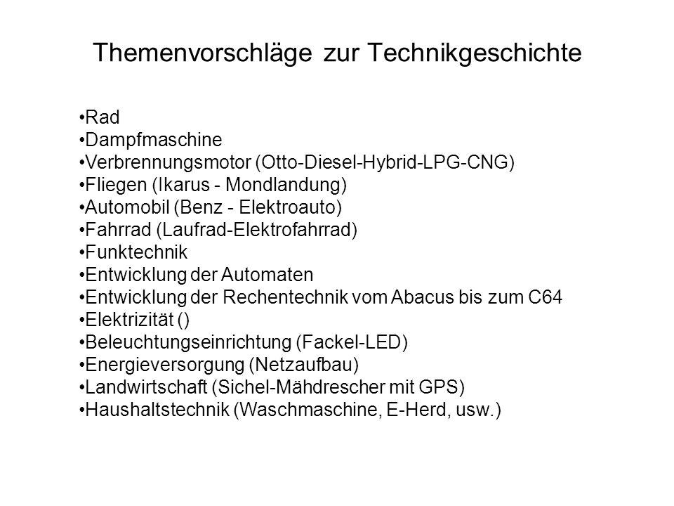 Themenvorschläge zur Technikgeschichte