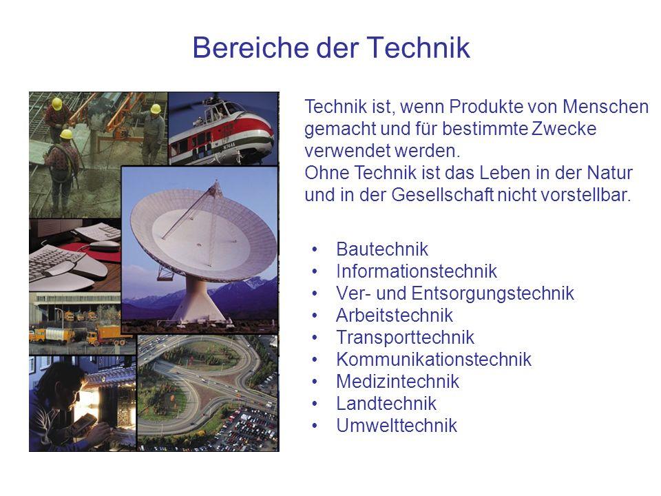 Bereiche der Technik Technik ist, wenn Produkte von Menschen