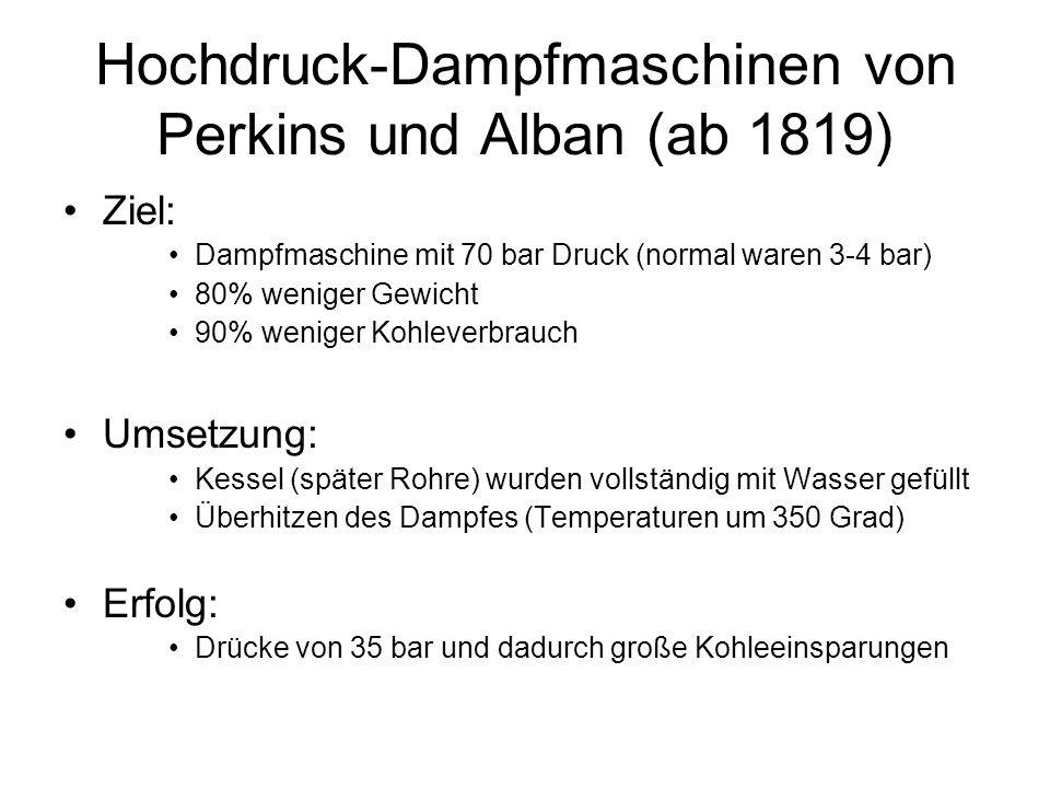 Hochdruck-Dampfmaschinen von Perkins und Alban (ab 1819)