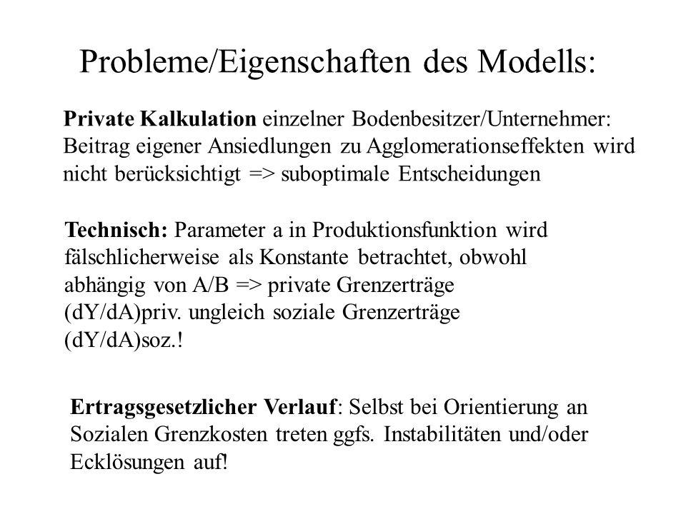 Probleme/Eigenschaften des Modells: