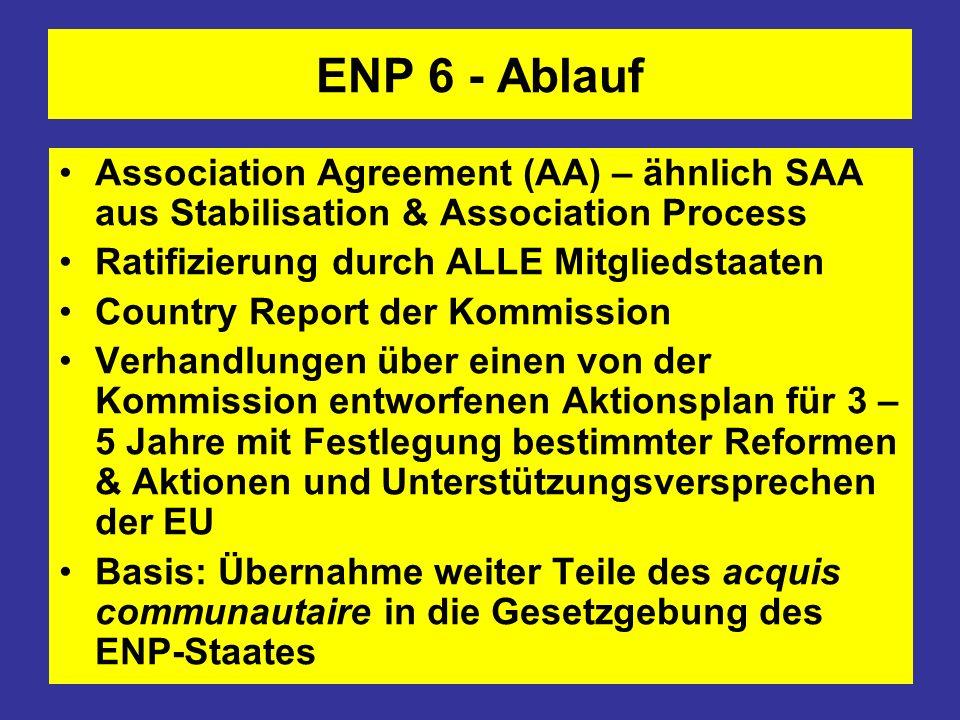 ENP 6 - Ablauf Association Agreement (AA) – ähnlich SAA aus Stabilisation & Association Process. Ratifizierung durch ALLE Mitgliedstaaten.