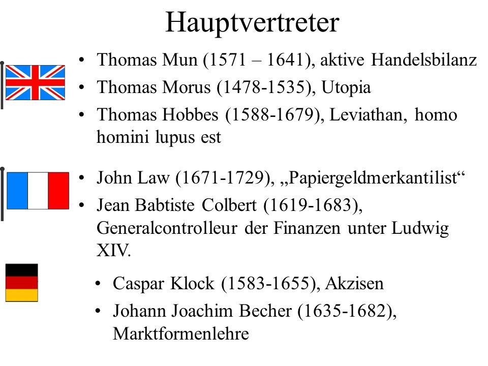 Hauptvertreter Thomas Mun (1571 – 1641), aktive Handelsbilanz
