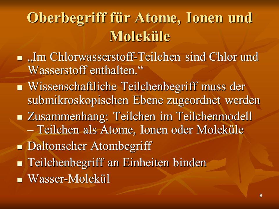 Oberbegriff für Atome, Ionen und Moleküle