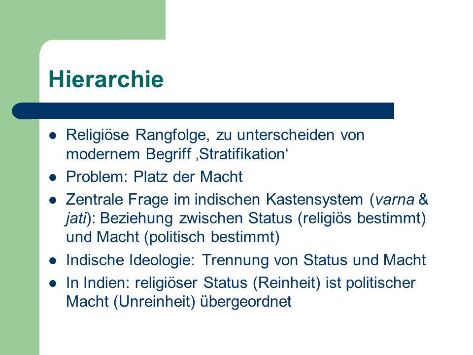 Hierarchie Religiöse Rangfolge, zu unterscheiden von modernem Begriff 'Stratifikation' Problem: Platz der Macht.