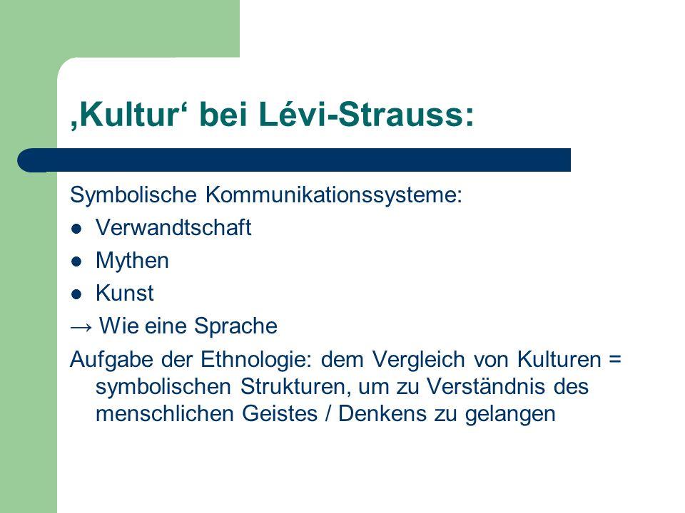 'Kultur' bei Lévi-Strauss: