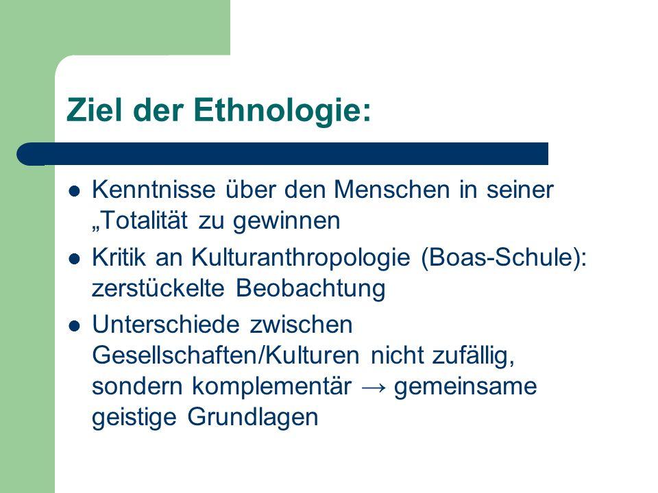 """Ziel der Ethnologie:Kenntnisse über den Menschen in seiner """"Totalität zu gewinnen."""