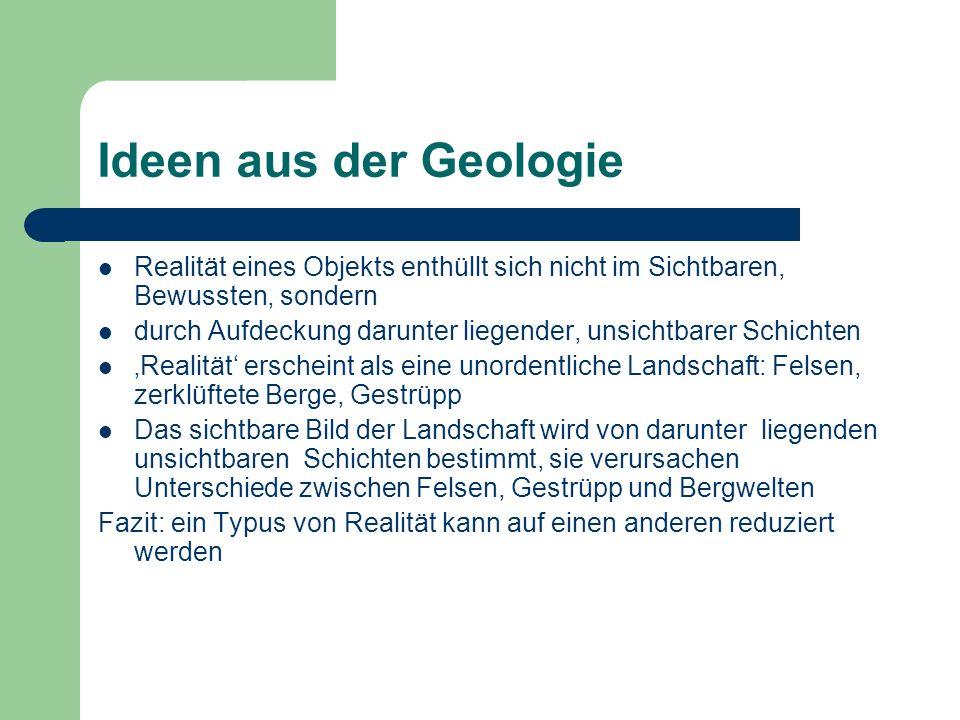 Ideen aus der Geologie Realität eines Objekts enthüllt sich nicht im Sichtbaren, Bewussten, sondern.