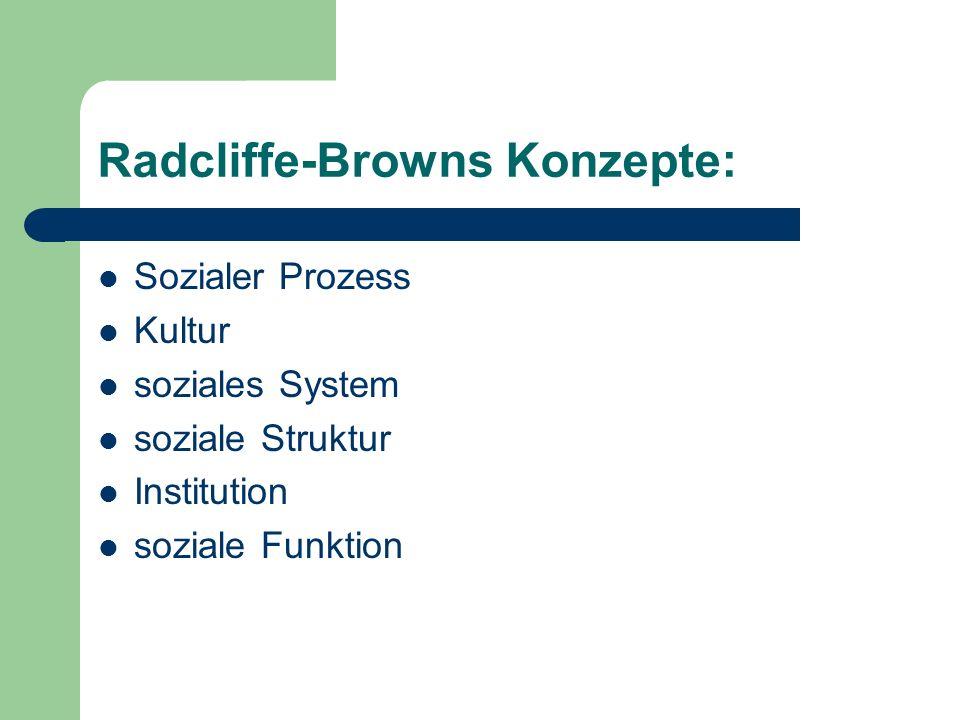 Radcliffe-Browns Konzepte: