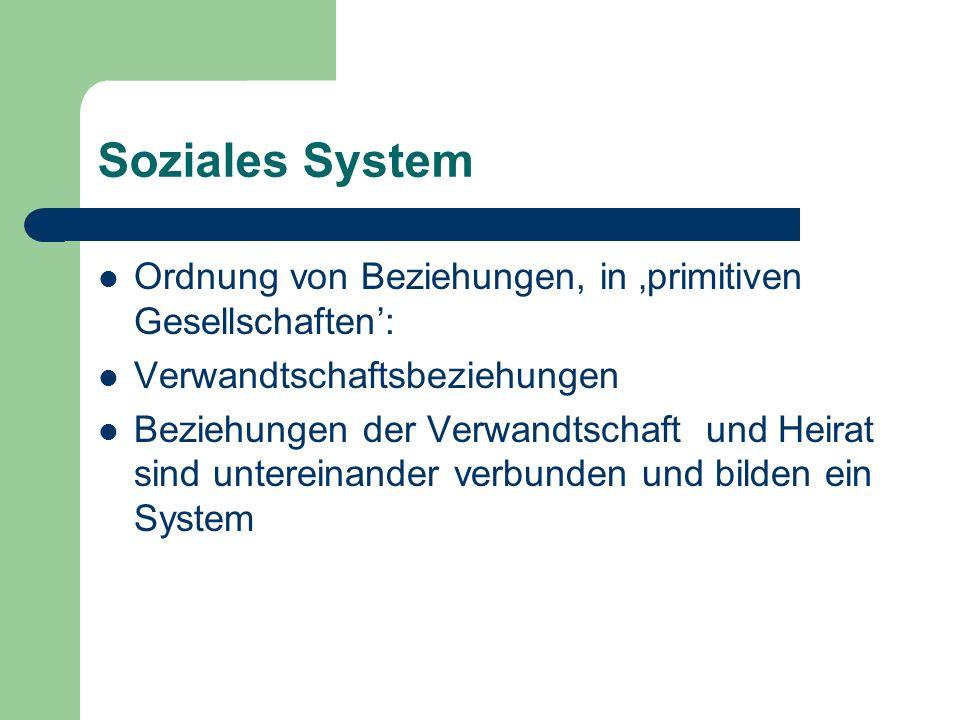 Soziales System Ordnung von Beziehungen, in 'primitiven Gesellschaften': Verwandtschaftsbeziehungen.