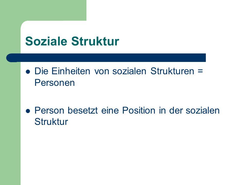Soziale Struktur Die Einheiten von sozialen Strukturen = Personen