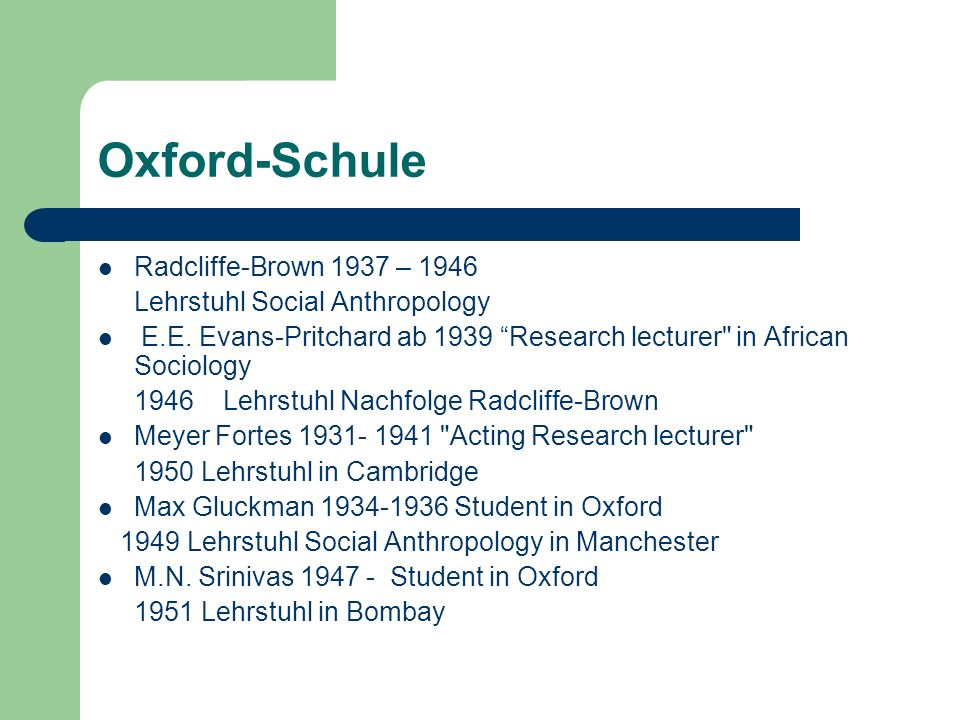 Oxford-Schule Radcliffe-Brown 1937 – 1946