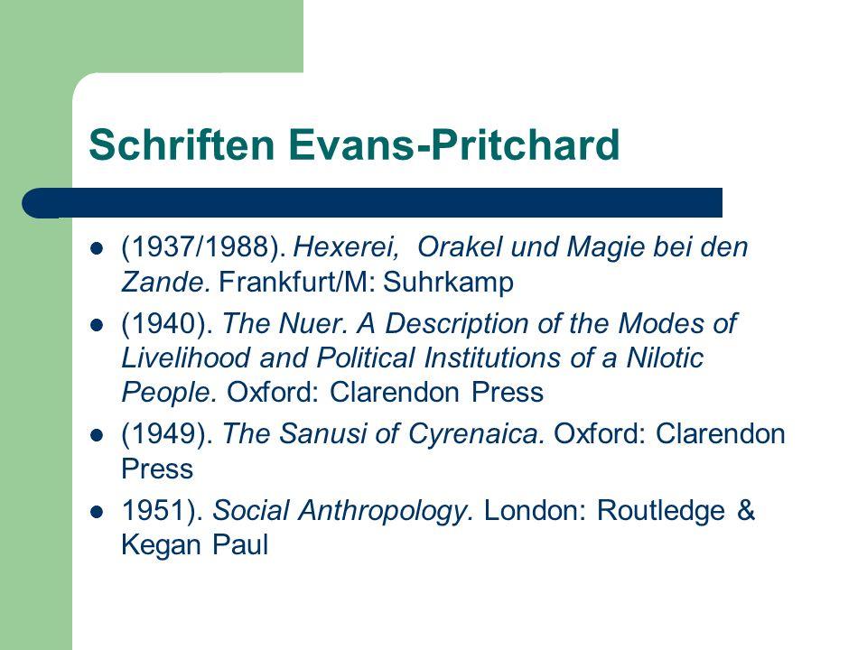 Schriften Evans-Pritchard