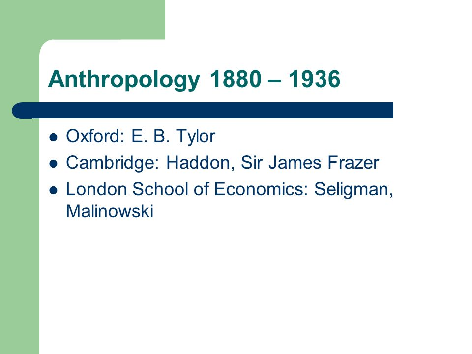 Anthropology 1880 – 1936 Oxford: E. B. Tylor