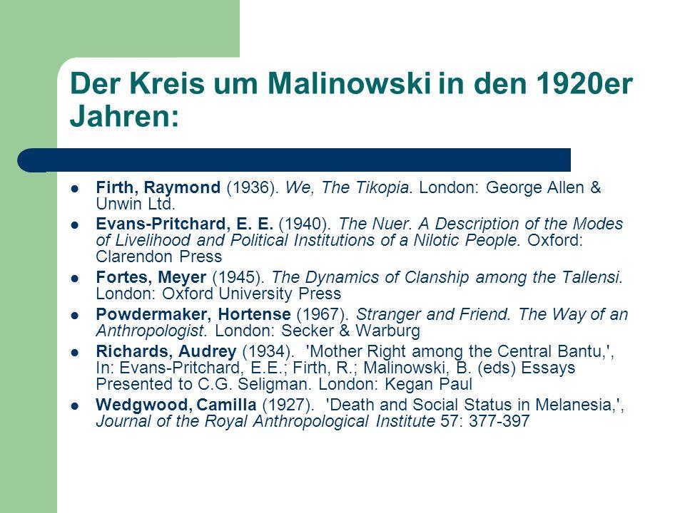Der Kreis um Malinowski in den 1920er Jahren: