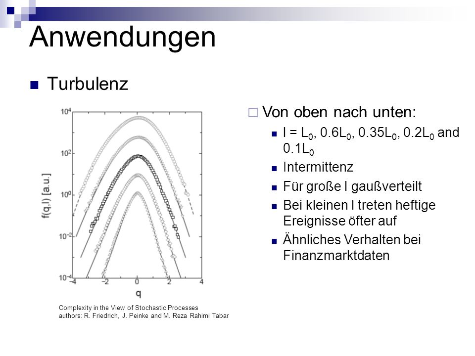 Anwendungen Turbulenz Von oben nach unten:
