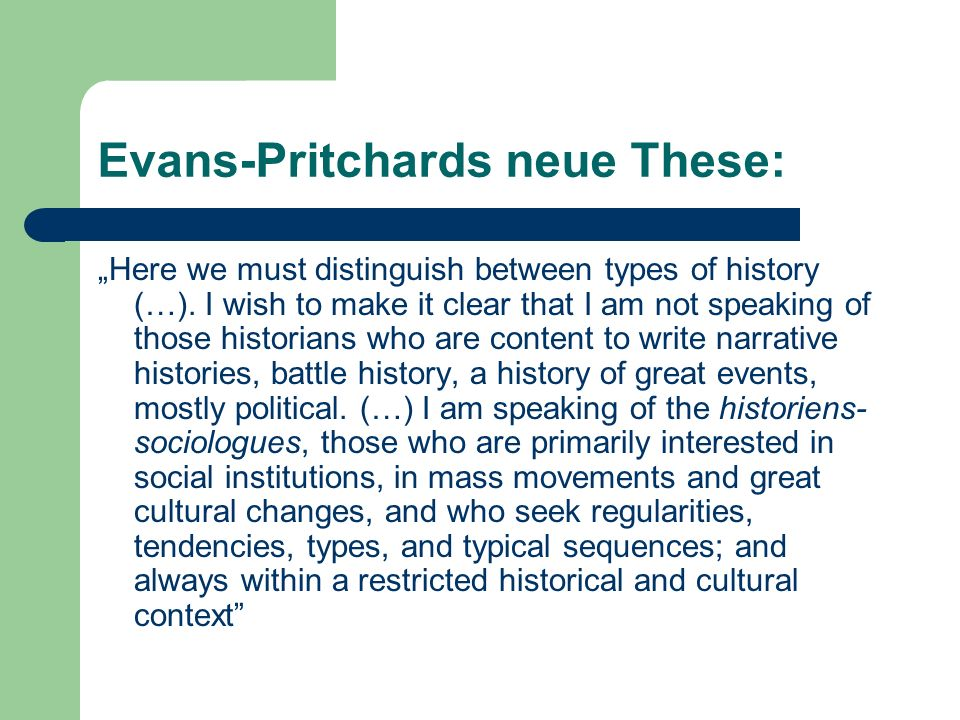 Evans-Pritchards neue These: