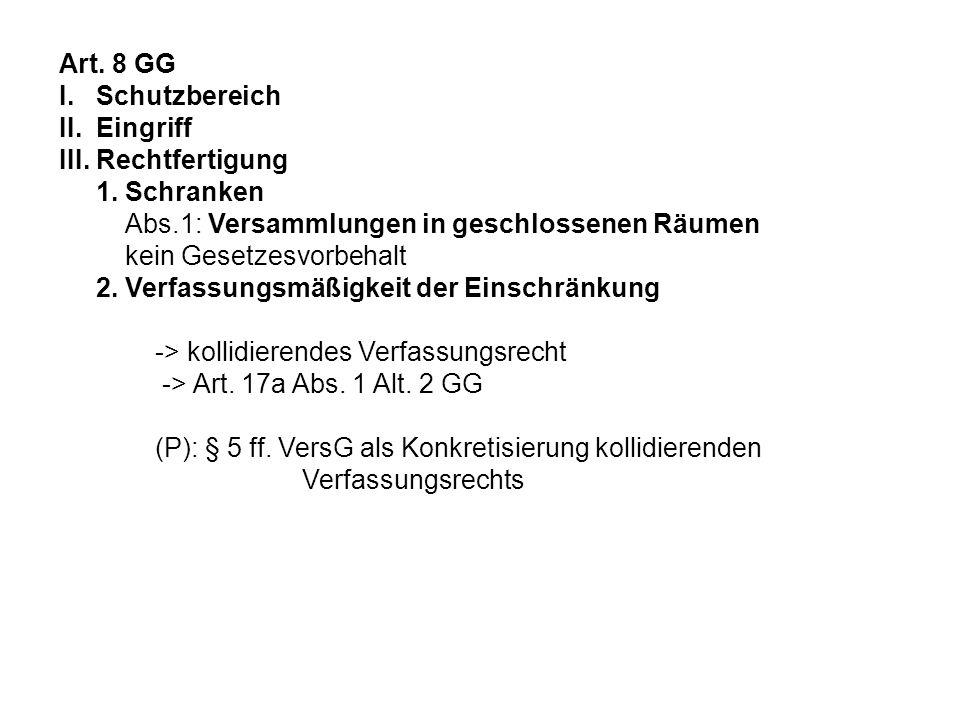 Art. 8 GG I. Schutzbereich II. Eingriff