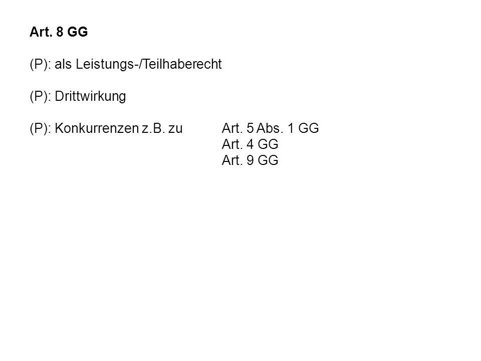 Art. 8 GG(P): als Leistungs-/Teilhaberecht. (P): Drittwirkung. (P): Konkurrenzen z.B. zu Art. 5 Abs. 1 GG.