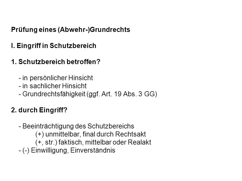 Prüfung eines (Abwehr-)Grundrechts I. Eingriff in Schutzbereich. 1