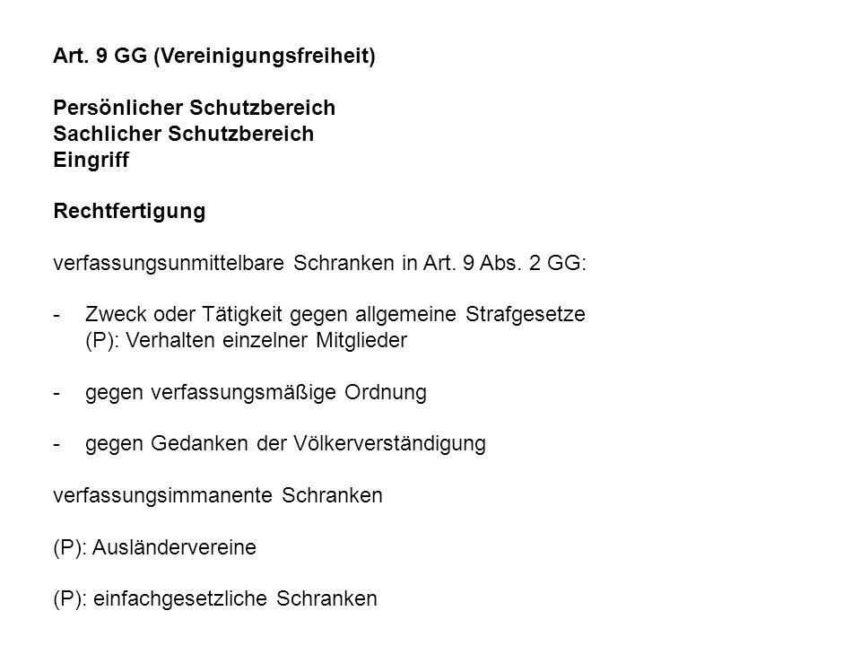 Art. 9 GG (Vereinigungsfreiheit)