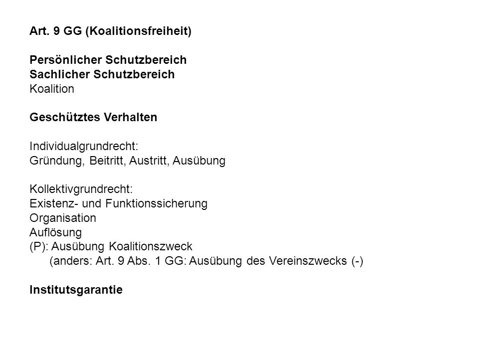 Art. 9 GG (Koalitionsfreiheit)